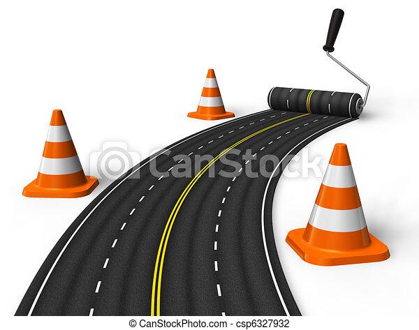 Die Straße mit Rollbürste bemalen - csp6327932