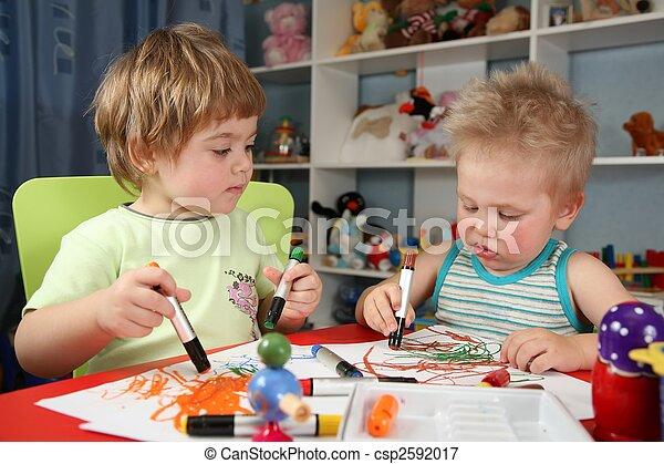 gemälde, zwei kinder - csp2592017