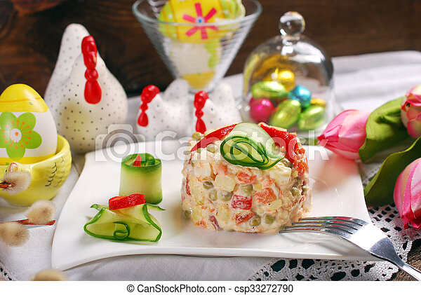 Gemüse Mayonnaise Ostern Salat Gemüse Kartoffel Mayonnaise