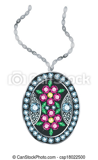 Gem pendant pendant made of colored gems vector clipart search gem pendant csp18022500 aloadofball Image collections