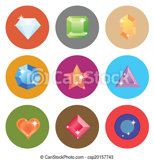 Gem stone flat color icons on white background - csp20157743