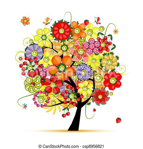 gemaakt, kunst, boom., vruchten, floral, bloemen - csp8956821