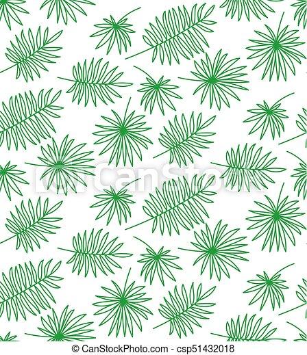 gemaakt, model, bladeren, seamless, palm, achtergrond, witte  - csp51432018