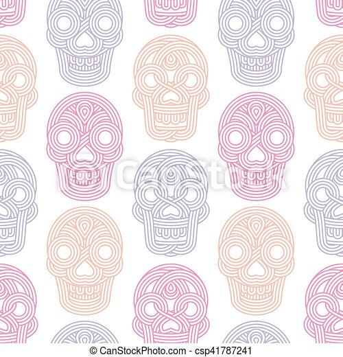gemaakt, model, seamless, achtergrond, witte , schedels - csp41787241