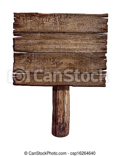gemaakt, oud, houten, wood., meldingsbord, board., post, paneel - csp16264640