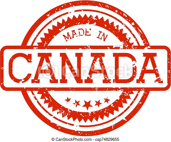 gemaakt, rubberstempel, canada - csp74829655
