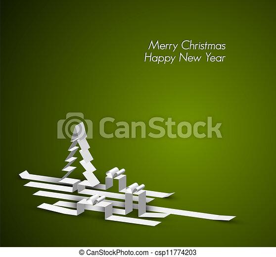 gemaakt, strepen, papier, zalige kerst, kaart - csp11774203