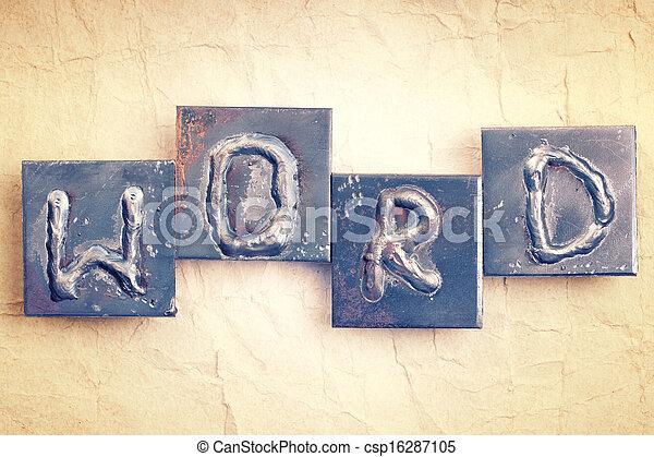 Gemacht Altes Word Weinlese Metall Papier Hintergrund