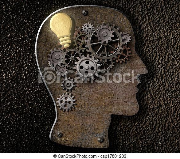 Gehirnmechanismus aus Metallschläuchen und Ausrüstung mit Idee Glühlampe - csp17801203