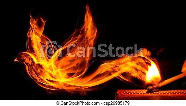 gemacht, brennender, feuer, matchstick, vogel, kommt - csp26985179