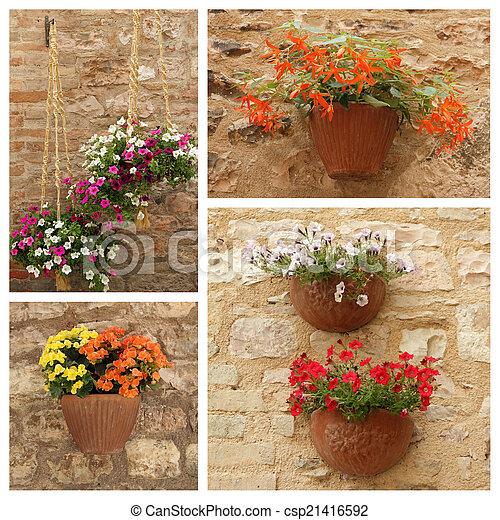 Gemacht Wand Toscana Fassade Hangender Bilder Blumentopfe