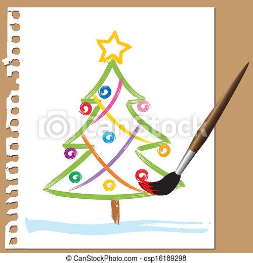 gemalt baum b rste weihnachten stil bunte gemalt. Black Bedroom Furniture Sets. Home Design Ideas