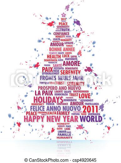 Gemalt, baum, weihnachten. Magisches, gemalt, baum, wörter, jahr ...