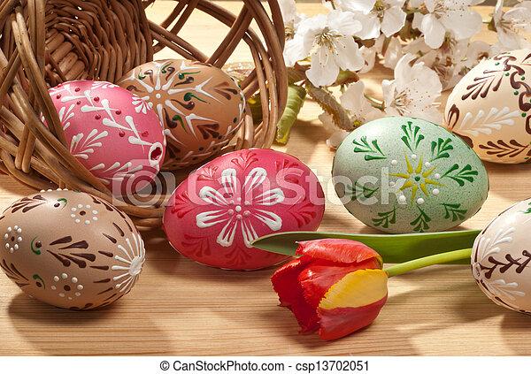 gemalt, eier, ostern - csp13702051