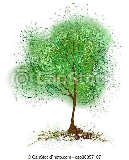 Baum Mit Blattern Gemalt Mit Gruner Farbe Stylisierter Baum Mit