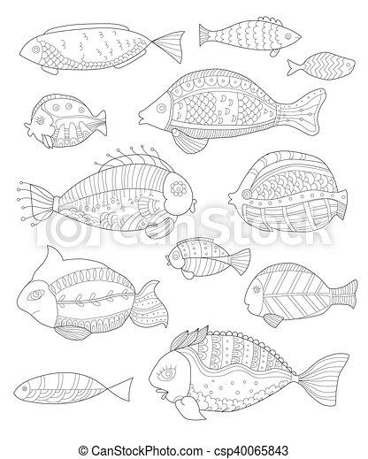 Dekorativ, erwachsene, fische, gemalt, fische, sammlung, hand ...
