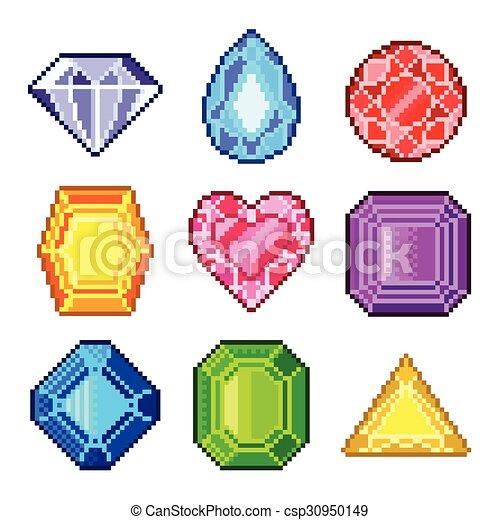 Gemas Pixel para juegos vectores de iconos - csp30950149