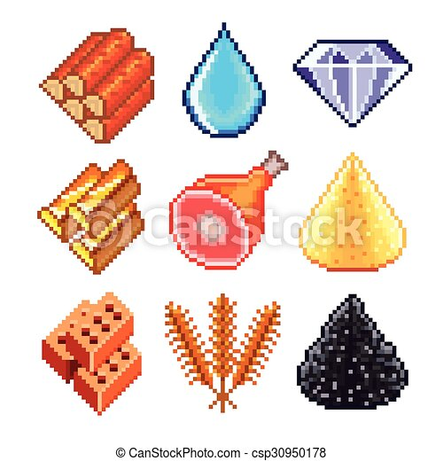 Gemas Pixel para juegos vectores de iconos - csp30950178