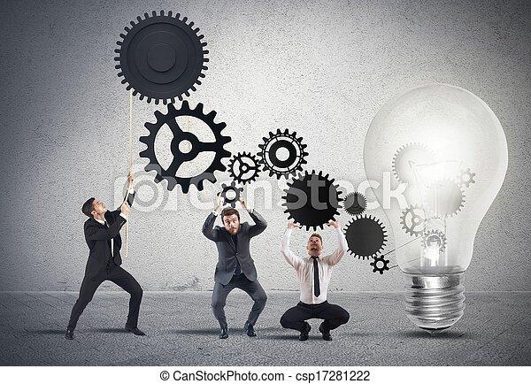 gemeinschaftsarbeit, idee, antreiben - csp17281222
