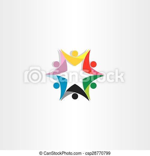 gemeinschaftsarbeit, leute, stern, bunte, ikone - csp28770799