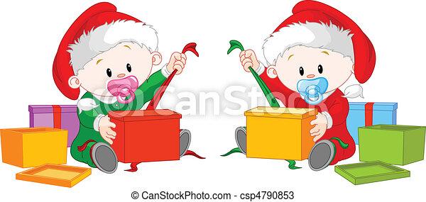 gemelos, abierto, regalo de navidad - csp4790853