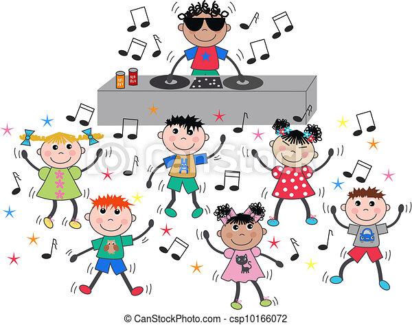 gemengd, dancing, kinderen, ethnische , disco - csp10166072