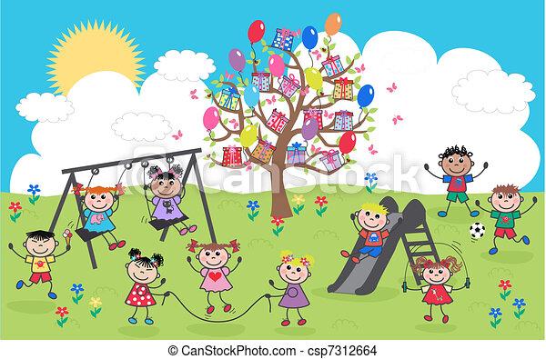 gemengd etnisch, kinderen, vrolijke  - csp7312664