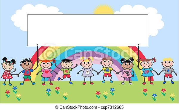 gemengd, kinderen, ethnische  - csp7312665