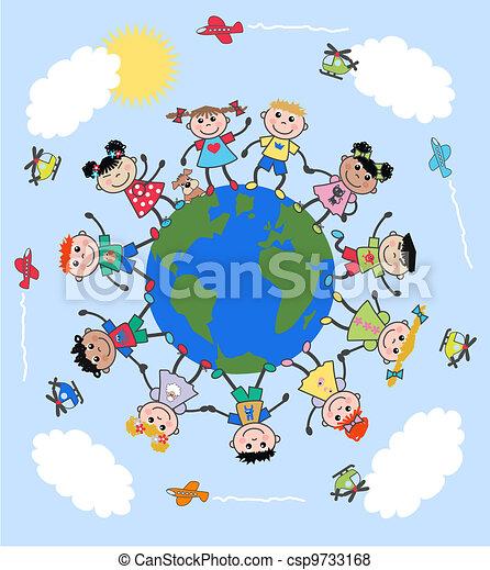 gemengd, kinderen, ethnische  - csp9733168