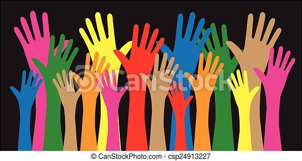 gemengd, reiken, ethnische , handen - csp24913227