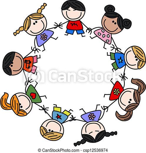 gemengd, vriendschap, kinderen, ethnische  - csp12536974