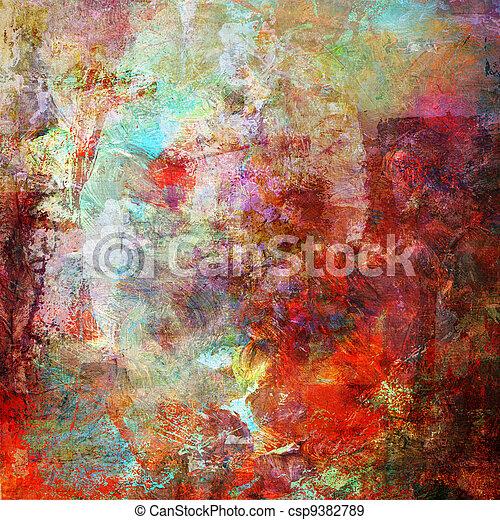 gemengde media, stijl, schilderij, abstract - csp9382789