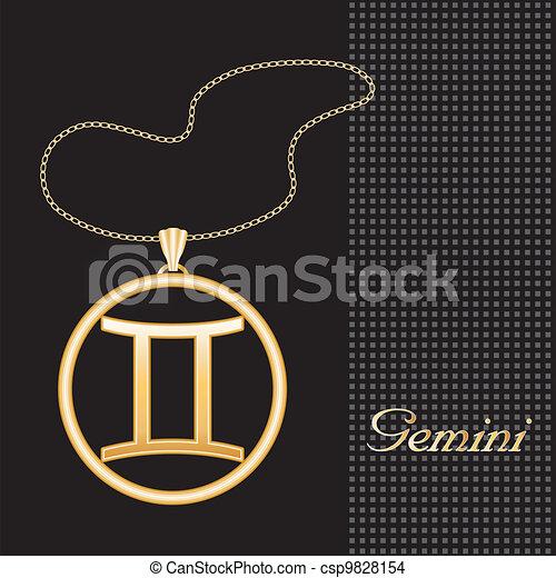 Gemini Gold Necklace   - csp9828154
