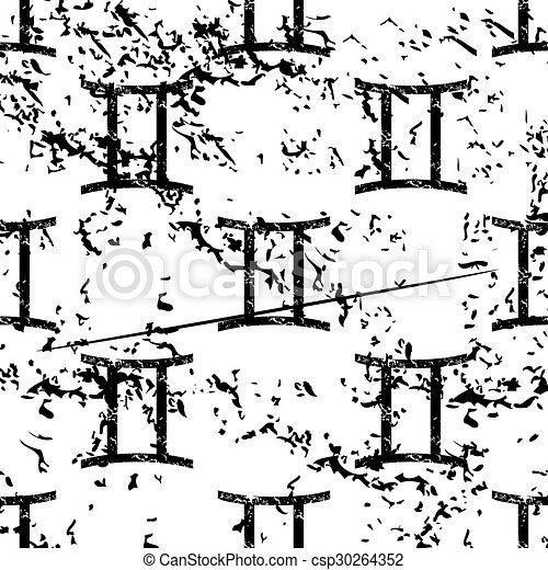 Gemini pattern, grunge, monochrome - csp30264352