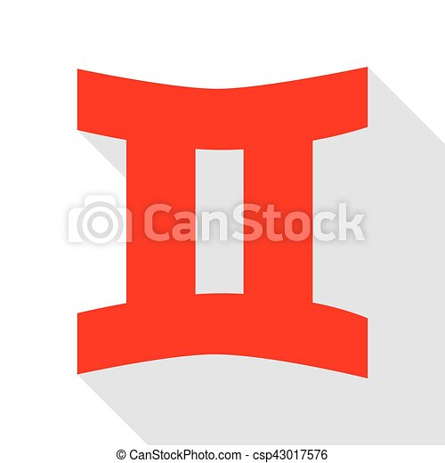 Gemini sign. Red icon with flat style shadow path. - csp43017576
