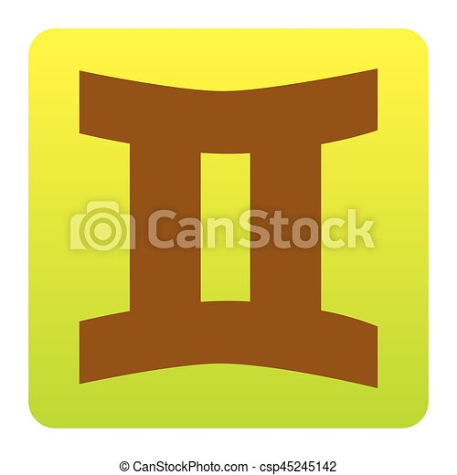 Gemini sign. Vector. Brown icon at green-yellow gradient square with rounded corners on white background. Isolated. - csp45245142