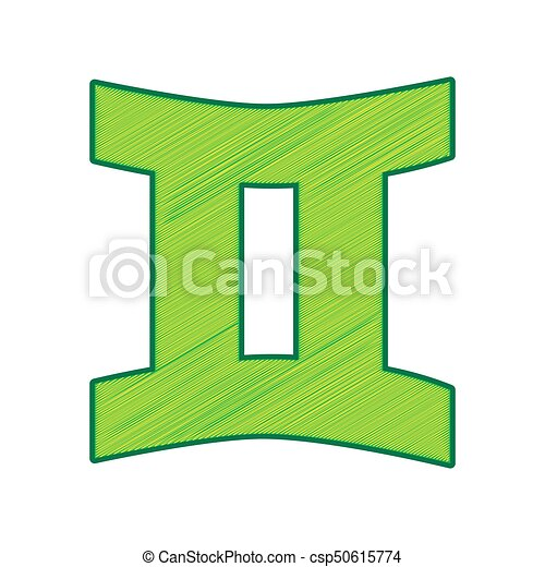 Gemini sign. Vector. Lemon scribble icon on white background. Isolated - csp50615774