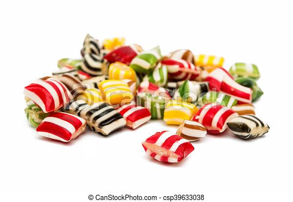 Gemischter Bonbon Fruechte Bunte Weißer Hintergrund Lutscher