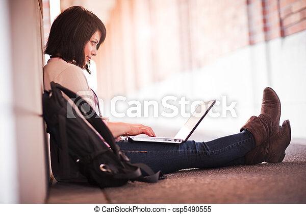 gemischter, laptop, rennen, student - csp5490555