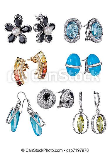 gemme, orecchini, bianco, isolato, fondo - csp7197978
