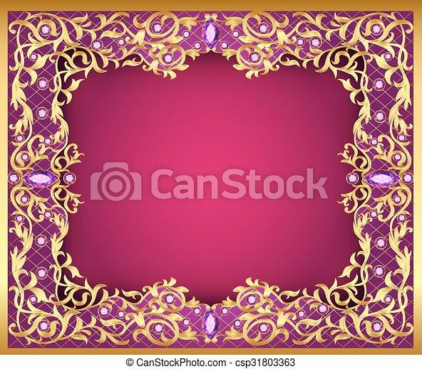 gemmes, illustration, fond, or, ornements - csp31803363
