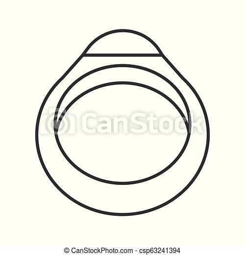 gemstone ring, jewelry related outline vector icon - csp63241394