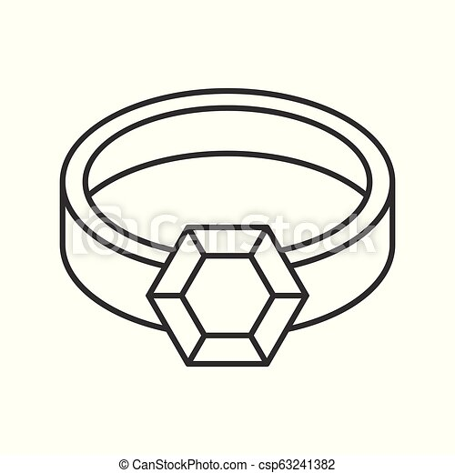 gemstone ring, jewelry related outline vector icon - csp63241382