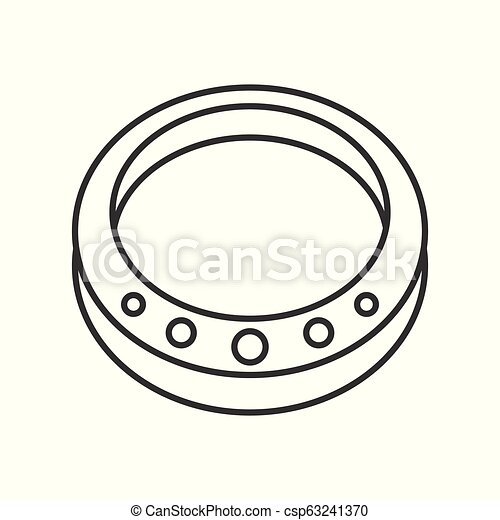 gemstone ring, jewelry related outline vector icon - csp63241370