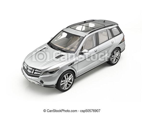 genérico, car, isolado, suv, luxo, prata, white. - csp50576907