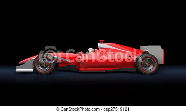 Un auto de carreras rojo genérico - csp27519121