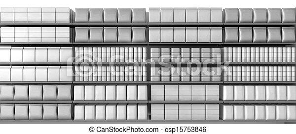 genérico, frente, produtos, supermercado, prateleiras - csp15753846
