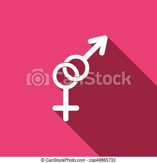 Gender Symbol Icons With Long Shadow Vector Illustration