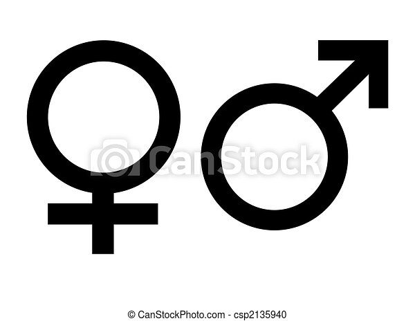 Gender Symbols Male And Female Gender Symbols Isolated On White