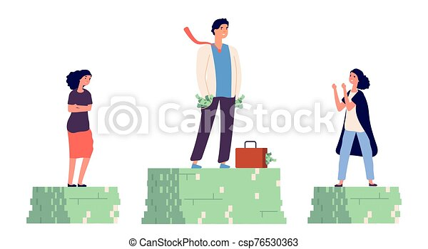 Gender wage gap. Unequal incomes concept. Male and female flat vector characters - csp76530363